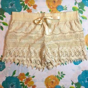 NWT Cream Crochet Shorts